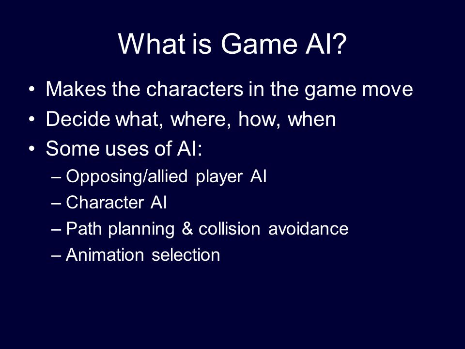 What is Game AI.