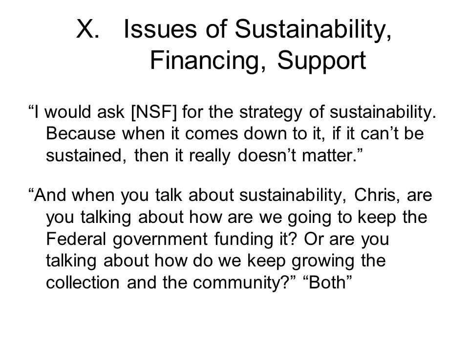 X.Issues of Sustainability, Financing, Support I would ask [NSF] for the strategy of sustainability.