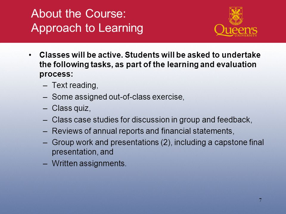 About the Course: Approach to Learning Classes will be active.