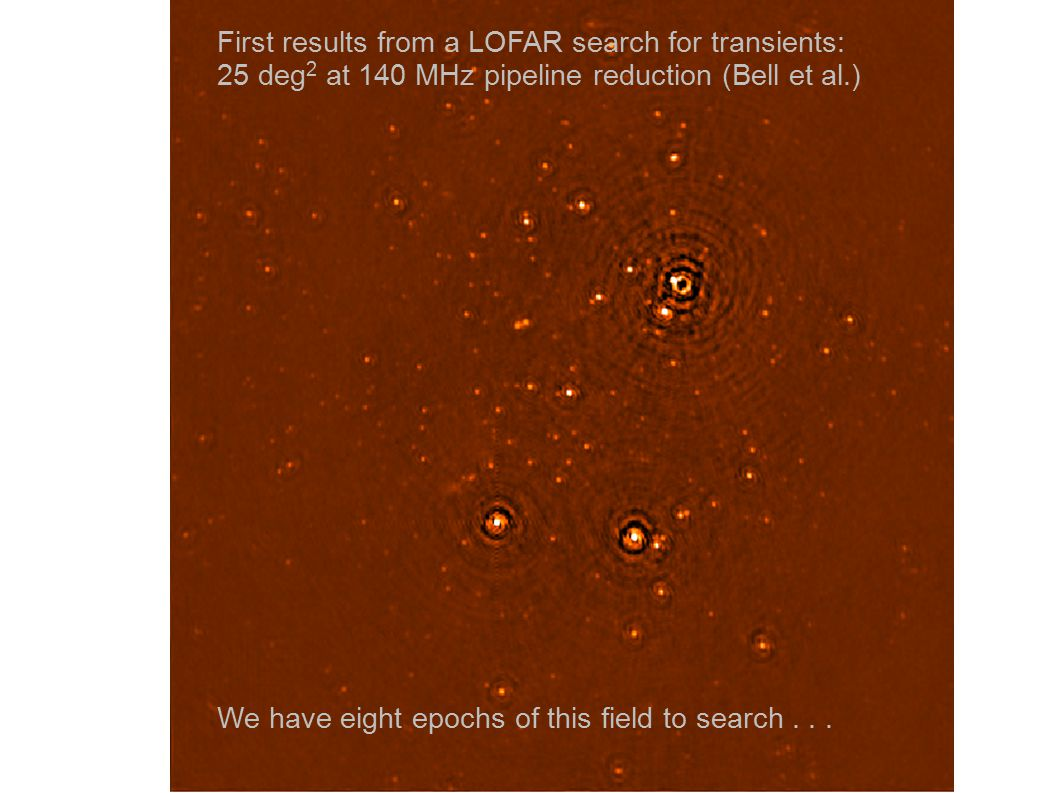 First results from a LOFAR search for transients: 25 deg 2 at 140 MHz pipeline reduction (Bell et al.) We have eight epochs of this field to search...