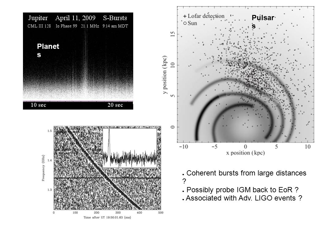 Pulsar s Planet s ● Coherent bursts from large distances .