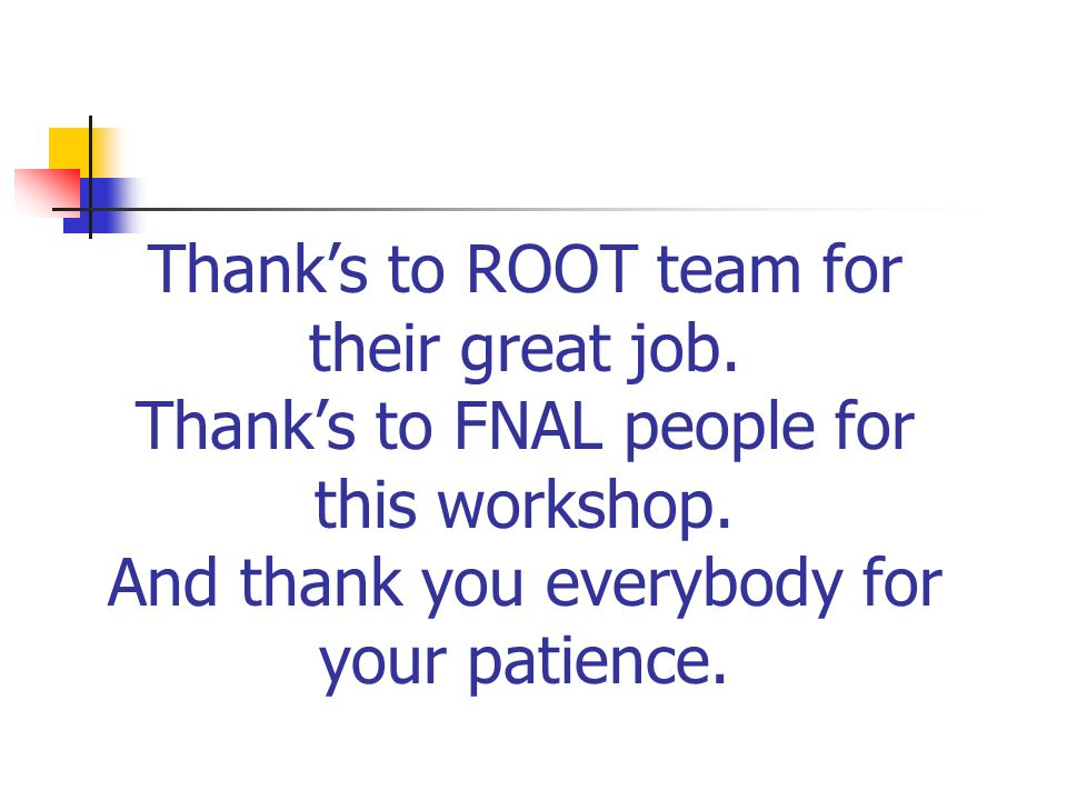 Thank's to ROOT team for their great job. Thank's to FNAL people for this workshop.