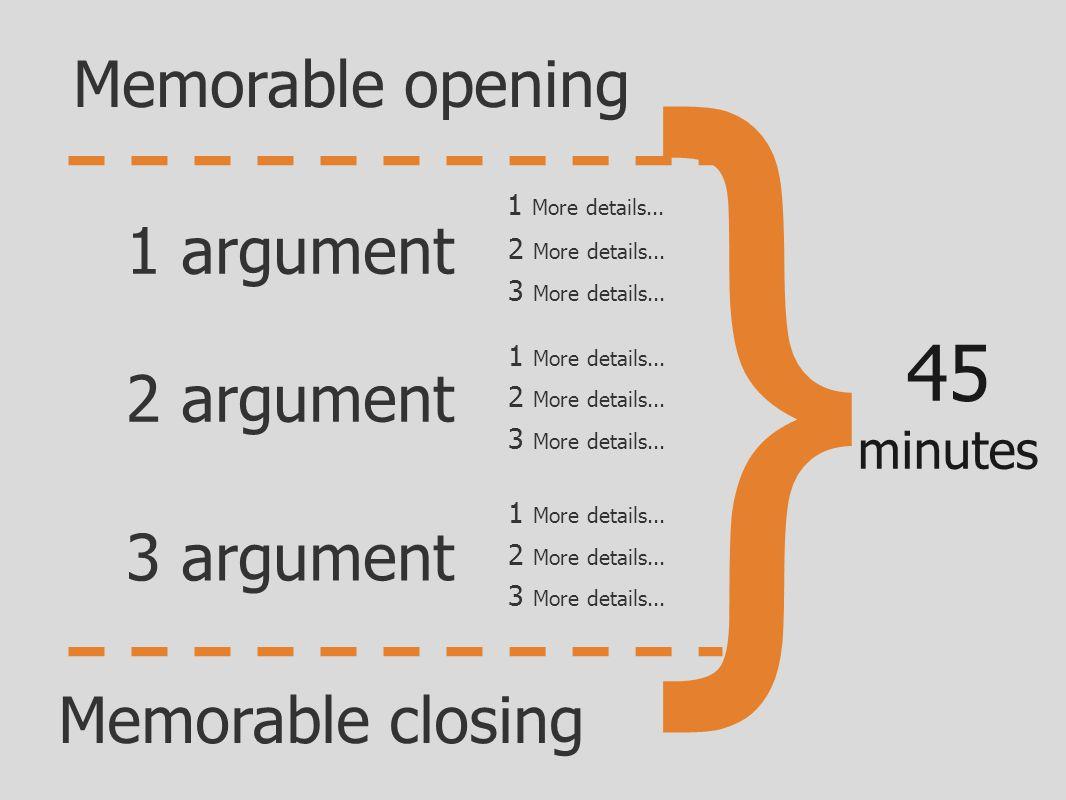 } 45 minutes 1 argument 2 argument 3 argument Memorable opening Memorable closing 1 More details...