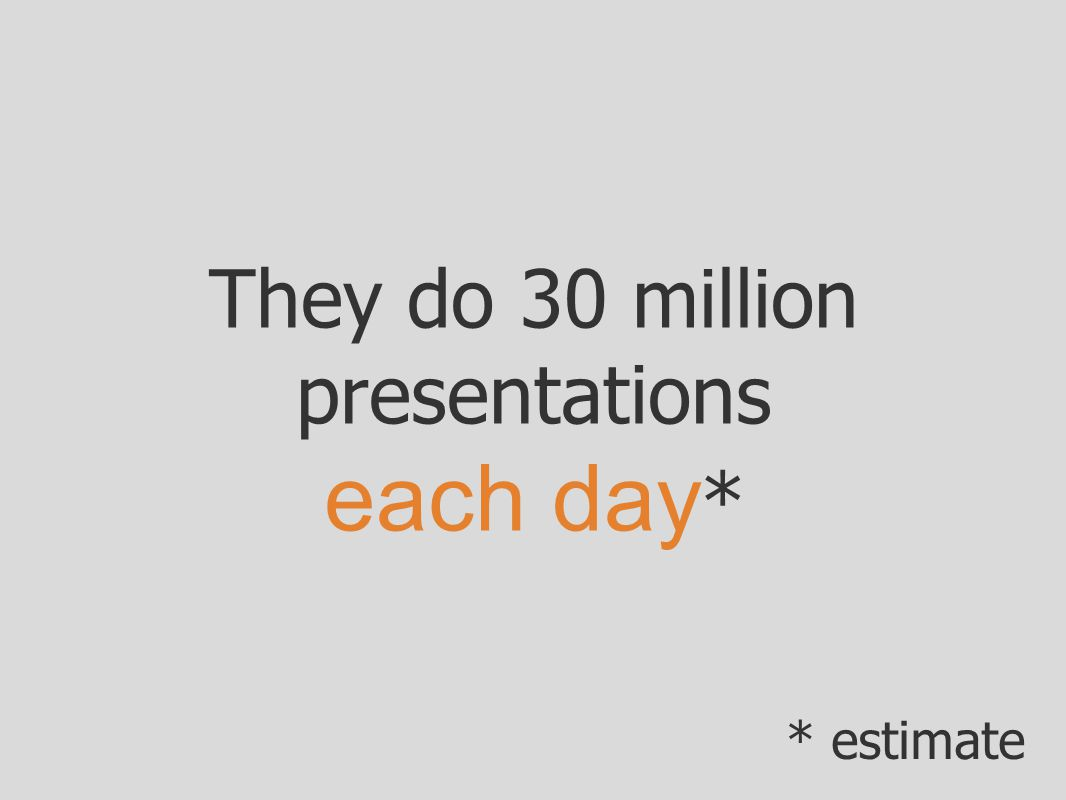 They do 30 million presentations each day * * estimate