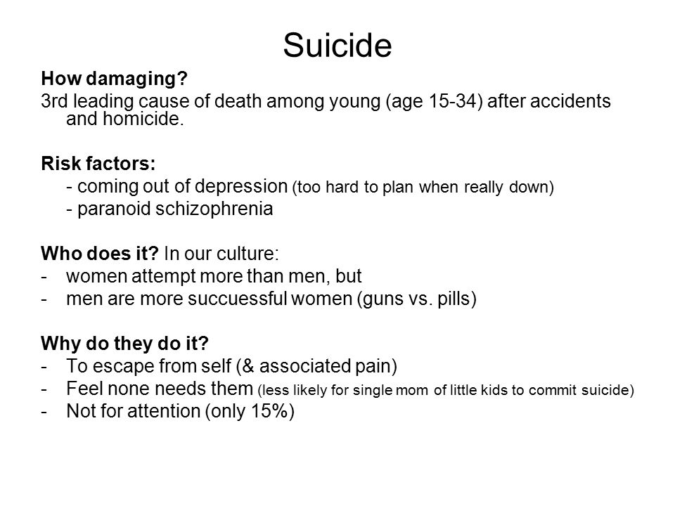 Suicide How damaging.