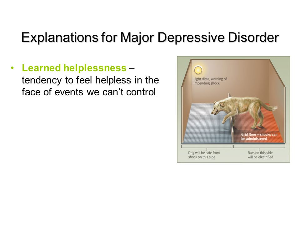 Explanations for Major Depressive Disorder Learned helplessness – tendency to feel helpless in the face of events we can't control