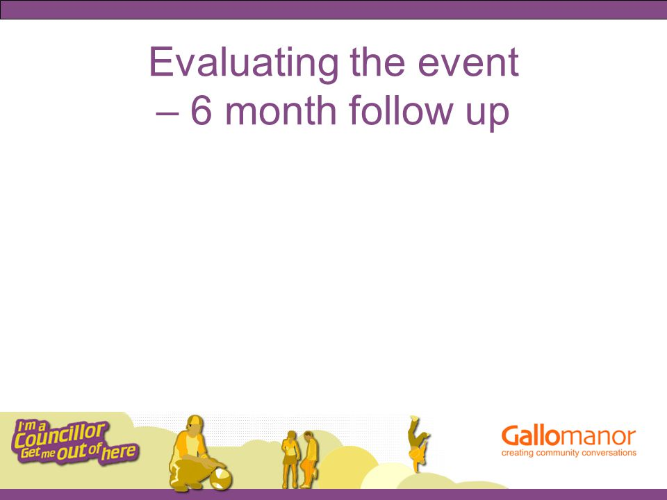 Evaluating the event – 6 month follow up