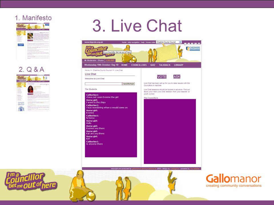 3. Live Chat 1. Manifesto 2. Q & A