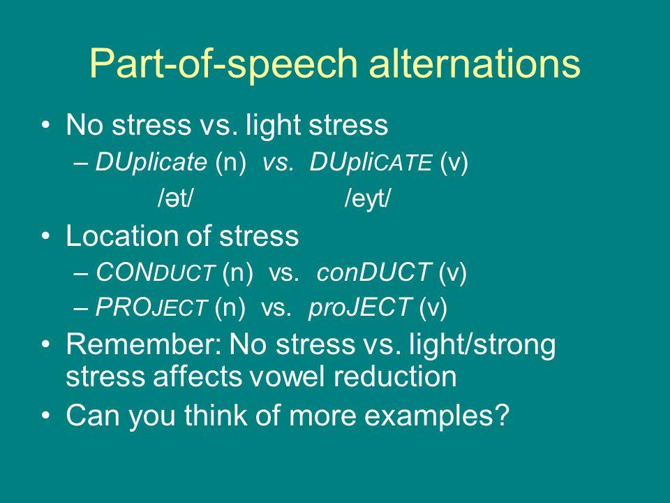 Part-of-speech alternations No stress vs. light stress –DUplicate (n) vs. DUpli CATE (v) / ə t/ /eyt/ Location of stress –CON DUCT (n) vs. conDUCT (v)