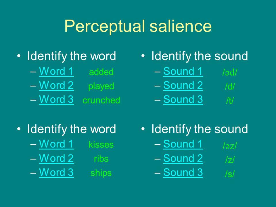 Perceptual salience Identify the word –Word 1Word 1 –Word 2Word 2 –Word 3Word 3 Identify the word –Word 1Word 1 –Word 2Word 2 –Word 3Word 3 Identify t