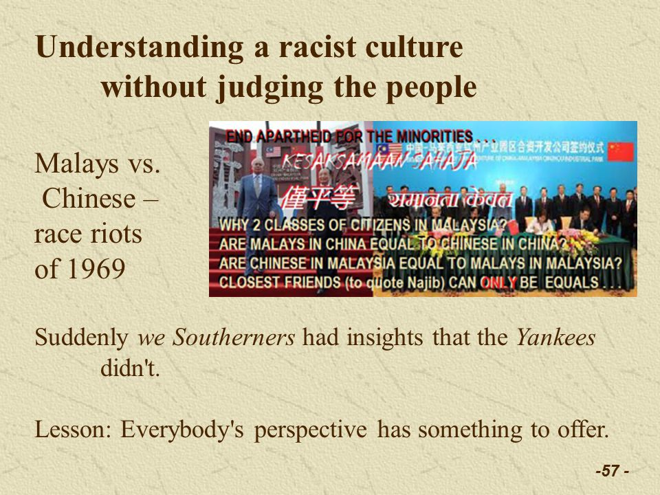 -57 - Understanding a racist culture without judging the people Malays vs.