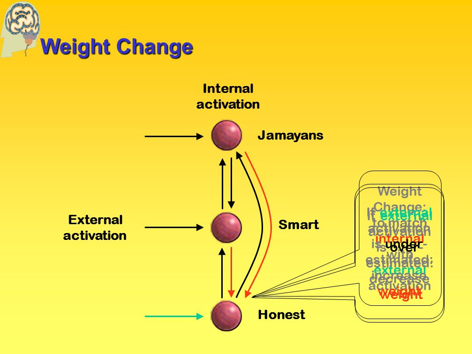 Weight Change External activation Internal activation Jamayans Honest Smart Weight Change: to match internal with external activation If external activation is under- estimated: increase weight If external activation is over- estimated: decrease weight