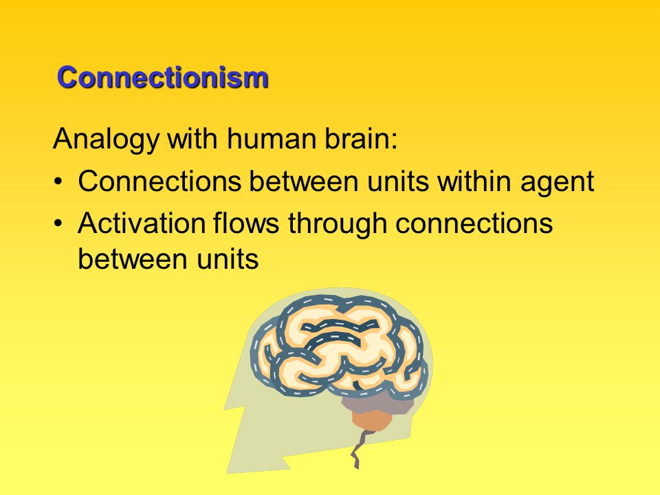 Connectionism Analogy with human brain: Connections between units within agent Activation flows through connections between units