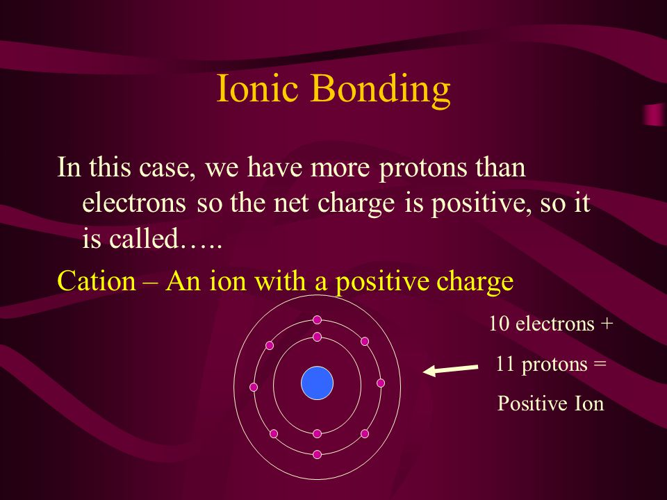 Ionic Bonding In this case, we have more protons than electrons so the net charge is positive, so it is called…..