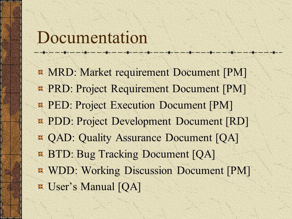 Documentation MRD: Market requirement Document [PM] PRD: Project Requirement Document [PM] PED: Project Execution Document [PM] PDD: Project Development Document [RD] QAD: Quality Assurance Document [QA] BTD: Bug Tracking Document [QA] WDD: Working Discussion Document [PM] User's Manual [QA]