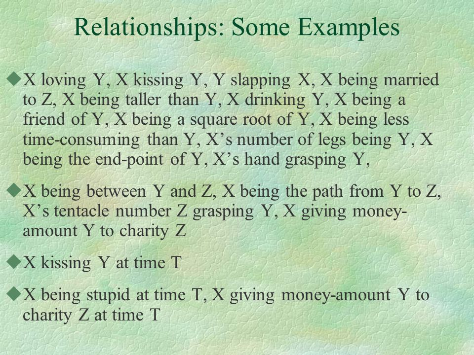 Relationships: Some Examples uX loving Y, X kissing Y, Y slapping X, X being married to Z, X being taller than Y, X drinking Y, X being a friend of Y, X being a square root of Y, X being less time-consuming than Y, X's number of legs being Y, X being the end-point of Y, X's hand grasping Y, uX being between Y and Z, X being the path from Y to Z, X's tentacle number Z grasping Y, X giving money- amount Y to charity Z uX kissing Y at time T uX being stupid at time T, X giving money-amount Y to charity Z at time T