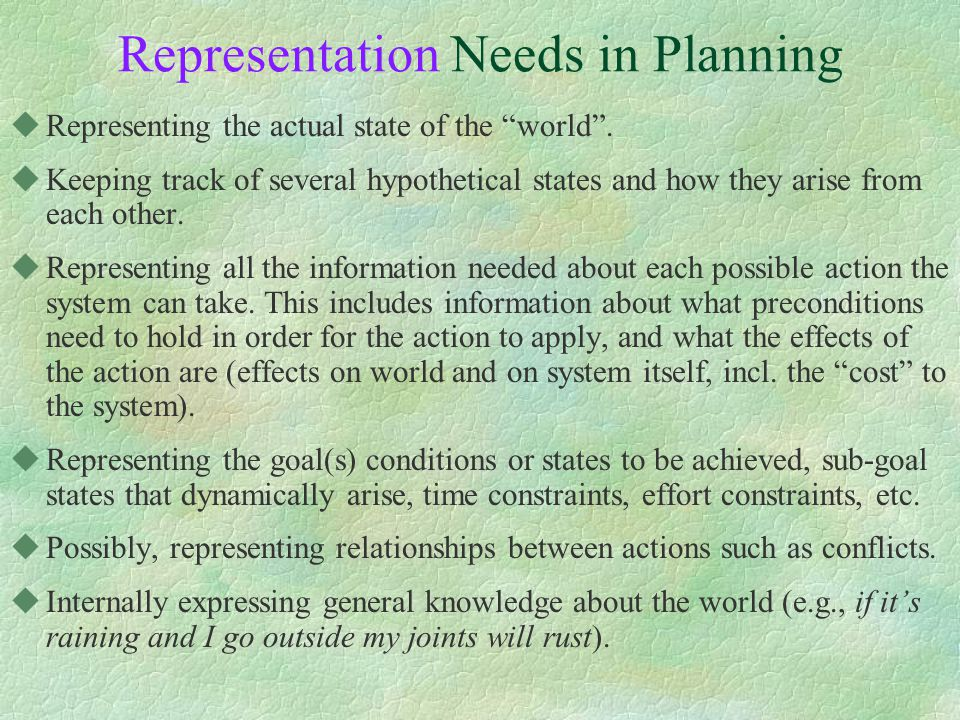 Representation Needs in Planning uRepresenting the actual state of the world .