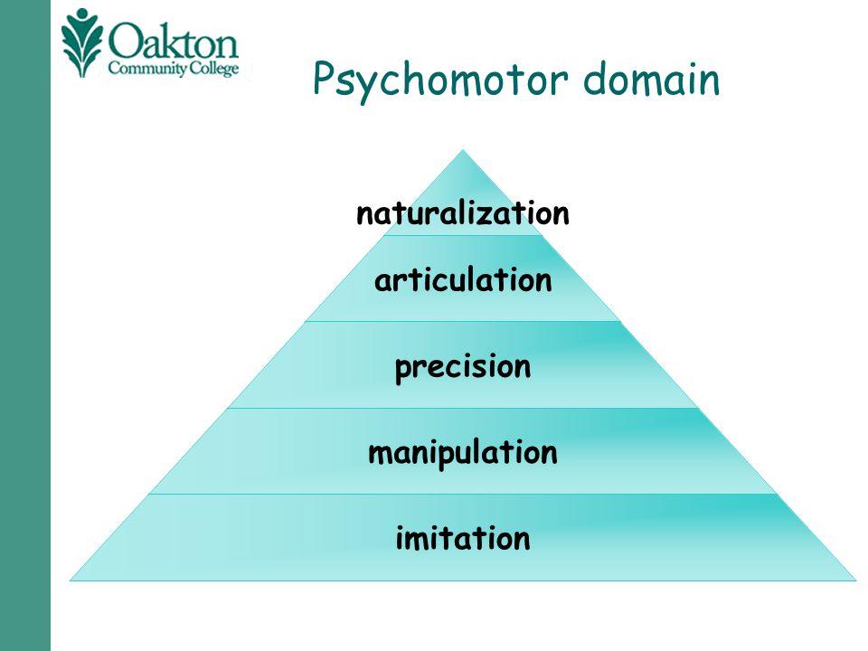 Psychomotor domain naturalization articulation precision manipulation imitation