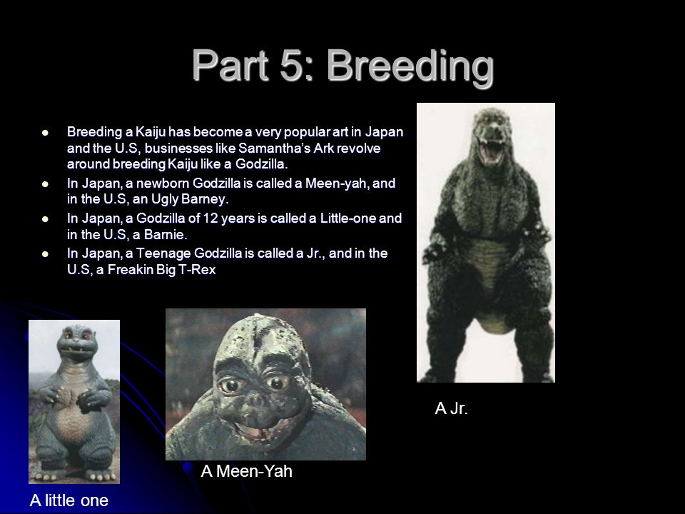 Part 5: Breeding Breeding a Kaiju has become a very popular art in Japan and the U.S, businesses like Samantha's Ark revolve around breeding Kaiju lik