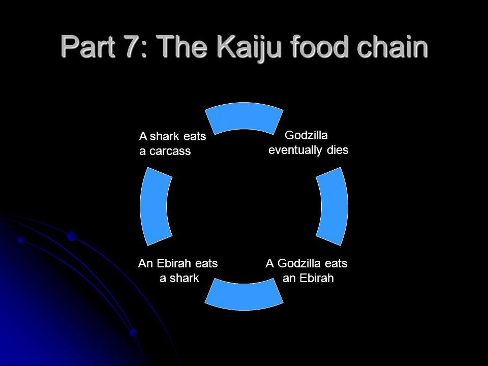 Part 7: The Kaiju food chain Godzilla eventually dies A Godzilla eats an Ebirah An Ebirah eats a shark A shark eats a carcass