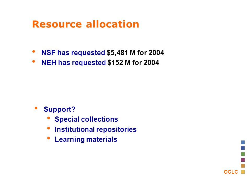OCLC Resource allocation NSF has requested $5,481 M for 2004 NEH has requested $152 M for 2004 Support.