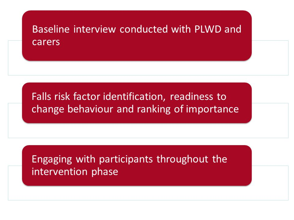 Baseline interview conducted with PLWD and carers Falls risk factor identification, readiness to change behaviour and ranking of importance Engaging with participants throughout the intervention phase