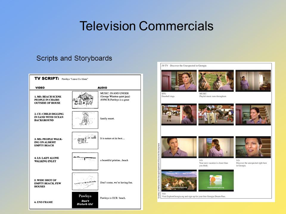 Television Commercials Scripts and Storyboards