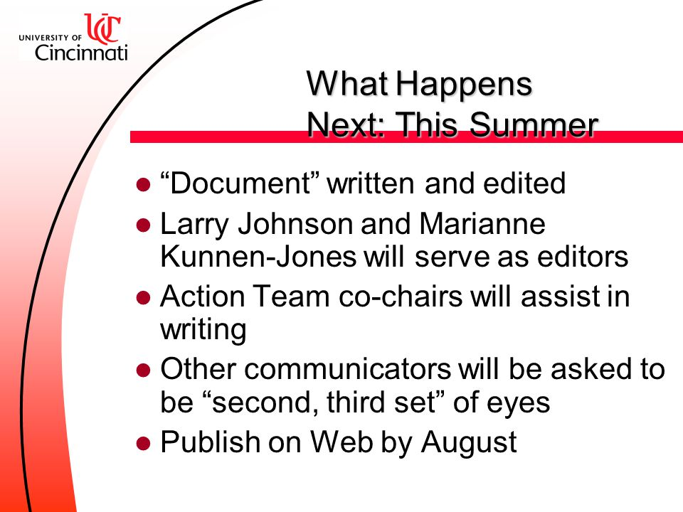 What Happens Next: Timeline Action Begins Action Teams Action Teams MayJuneJulyAugustSeptember Public Presentation Action Teams Review RefinePlanExecu