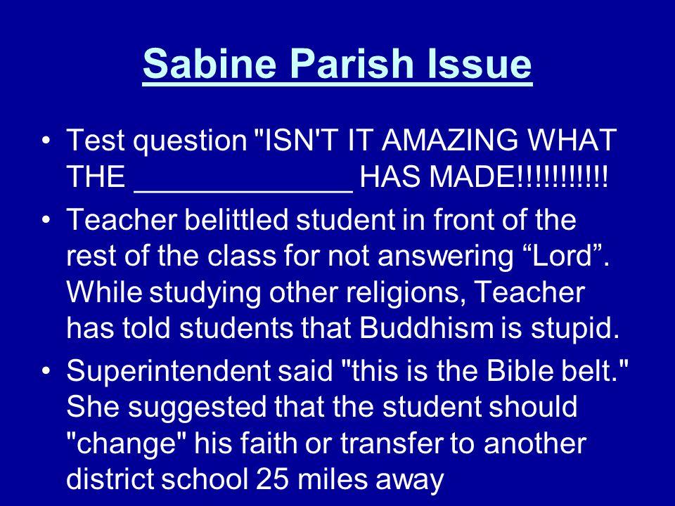 Sabine Parish Issue Test question