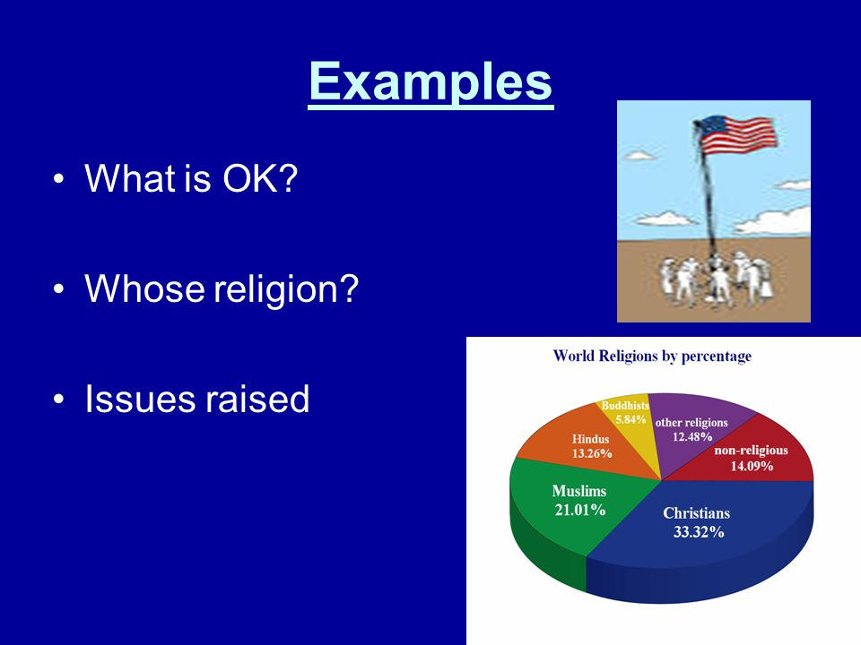 Examples What is OK? Whose religion? Issues raised
