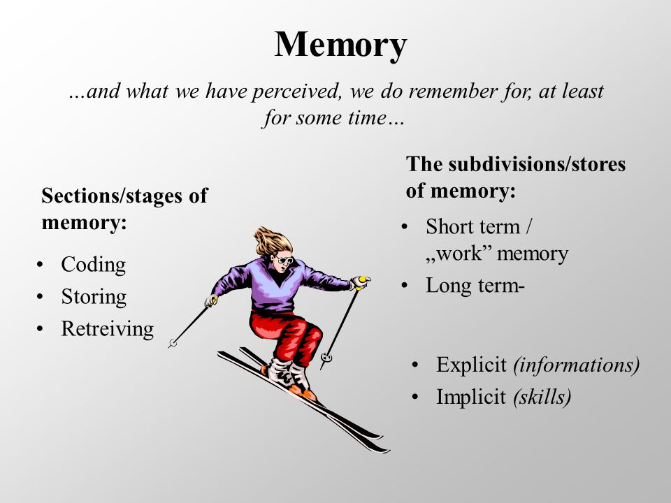 "Memory …and what we have perceived, we do remember for, at least for some time… Coding Storing Retreiving Sections/stages of memory: Short term / ""work memory Long term- The subdivisions/stores of memory: Explicit (informations) Implicit (skills)"