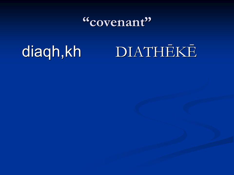 covenant diaqh,kh DIATHĒKĒ