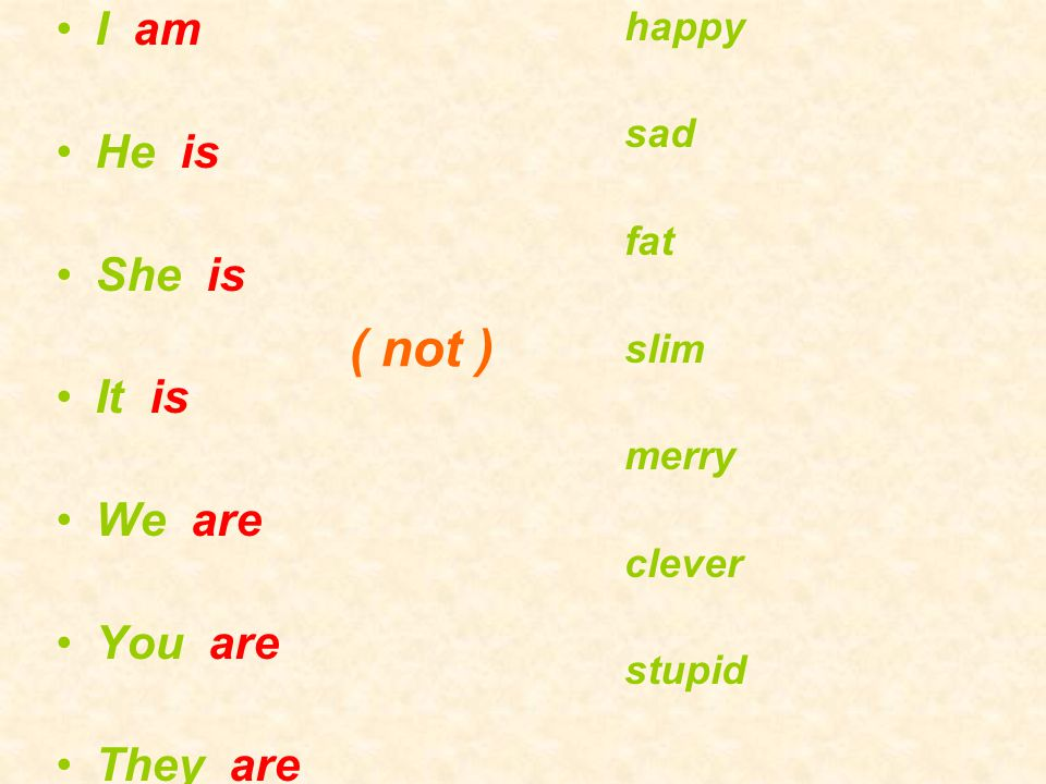 I am He is She is It is We are You are They are happy sad fat slim merry clever stupid ( not )
