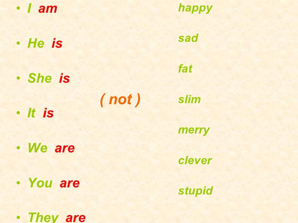 I am He is She is It is We are You are They are happy sad fat slim merry clever stupid ( not )