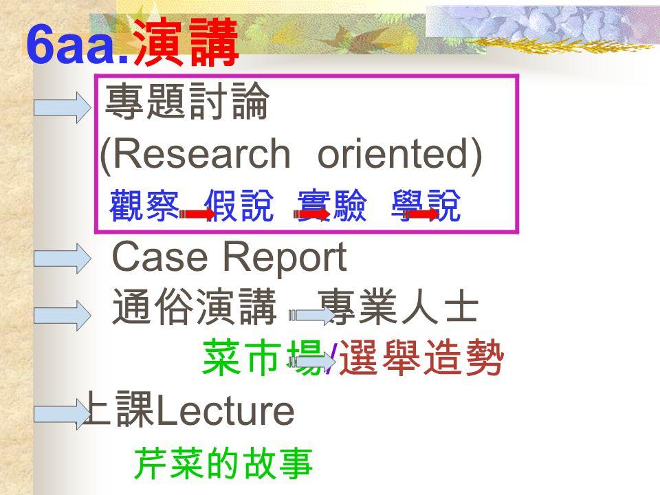 6aa. 演講 專題討論 (Research oriented) 觀察 假說 實驗 學說 Case Report 通俗演講 專業人士 菜市場 / 選舉造勢 上課 Lecture 芹菜的故事