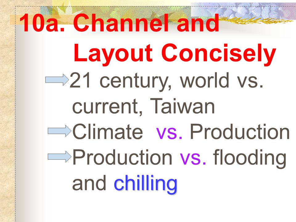 10a. Channel and Layout Concisely 21 century, world vs. current, Taiwan Climate vs. Production Production vs. flooding chilling and chilling