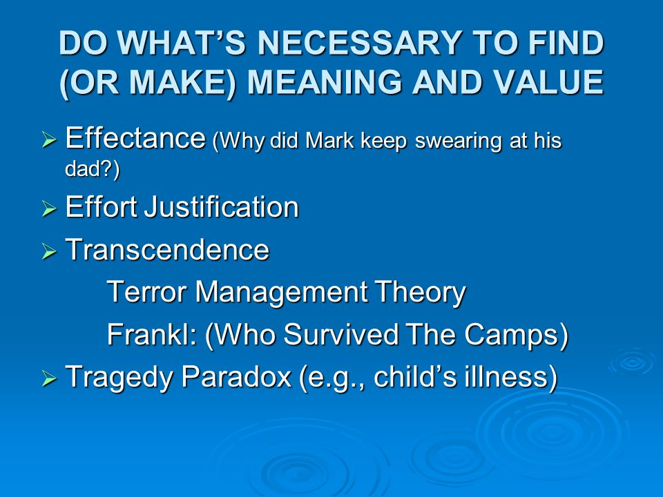 DO WHAT'S NECESSARY TO FIND (OR MAKE) MEANING AND VALUE  Effectance (Why did Mark keep swearing at his dad?)  Effort Justification  Transcendence T