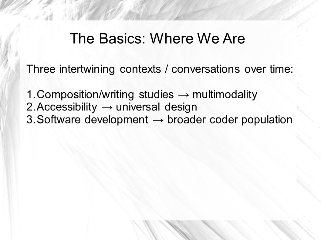 The Basics: Where We Are Three intertwining contexts / conversations over time: 1.