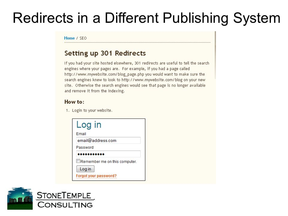 Redirects in a Different Publishing System