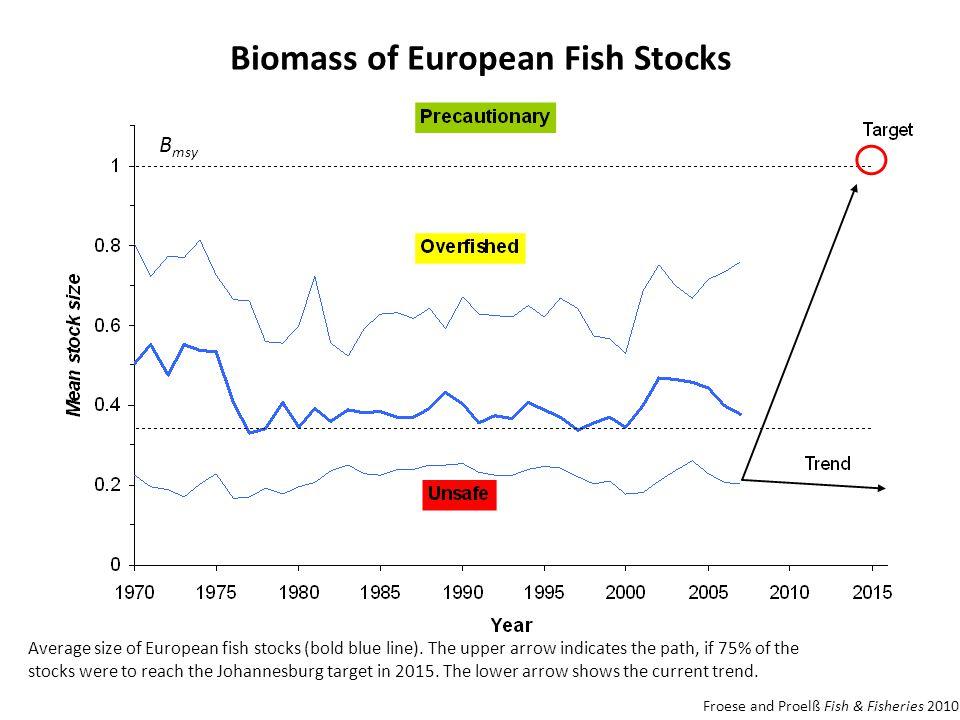 Biomass of European Fish Stocks Average size of European fish stocks (bold blue line).