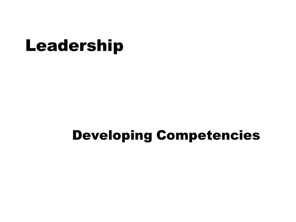 Leadership Developing Competencies