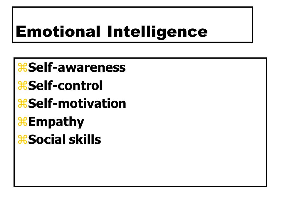 Emotional Intelligence zSelf-awareness zSelf-control zSelf-motivation zEmpathy zSocial skills