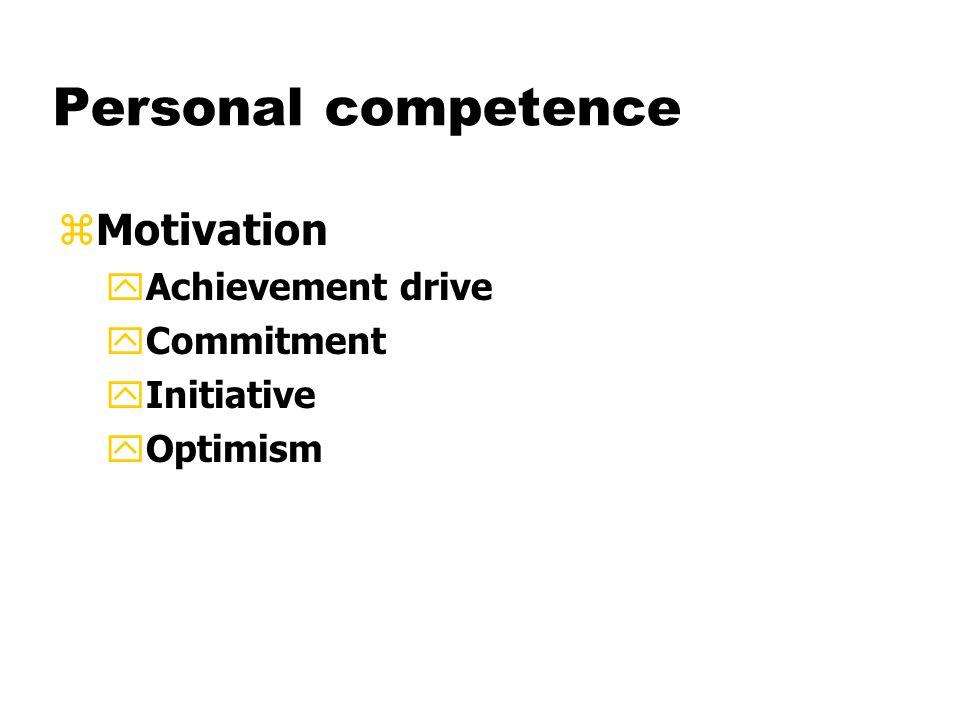 Personal competence zMotivation yAchievement drive yCommitment yInitiative yOptimism