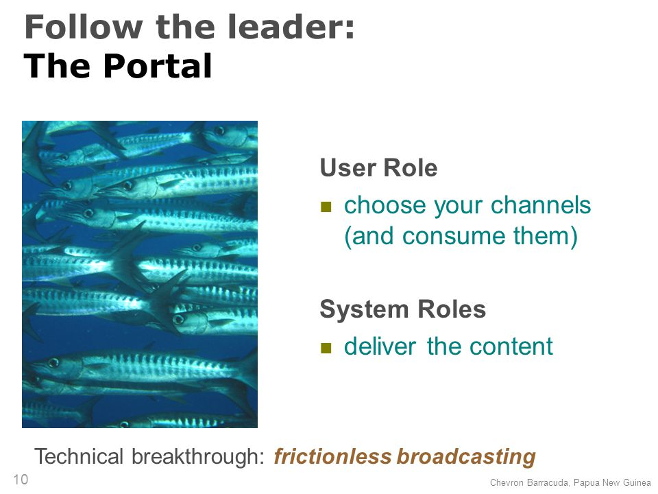 (c) 2007 Thomas Gruber 10 Follow the leader: The Portal User Role choose your channels (and consume them) System Roles deliver the content Technical breakthrough: frictionless broadcasting Chevron Barracuda, Papua New Guinea