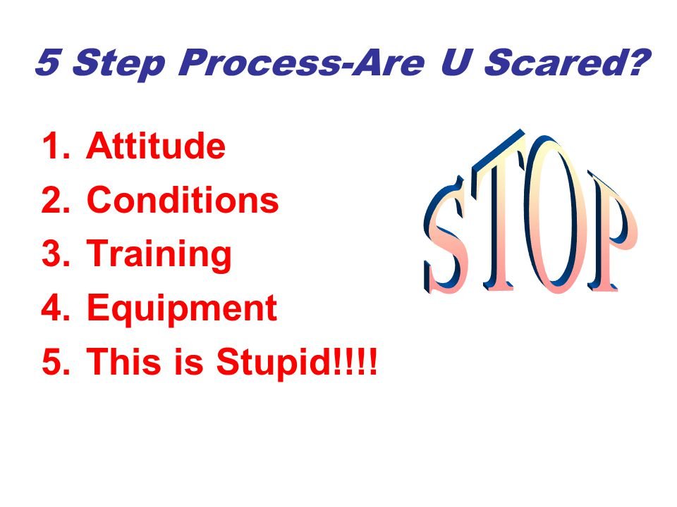 5 Step Process-Are U Scared? 1.Attitude 2.Conditions 3.Training 4.Equipment 5.This is Stupid!!!!