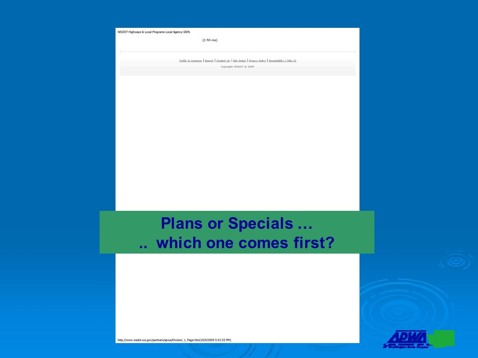 Plans or Specials ….. which one comes first