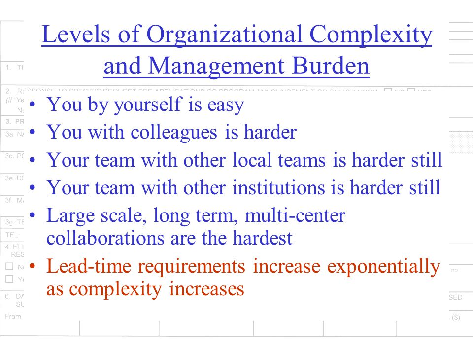 Levels of Organizational Complexity and Management Burden You by yourself is easy You with colleagues is harder Your team with other local teams is harder still Your team with other institutions is harder still Large scale, long term, multi-center collaborations are the hardest Lead-time requirements increase exponentially as complexity increases