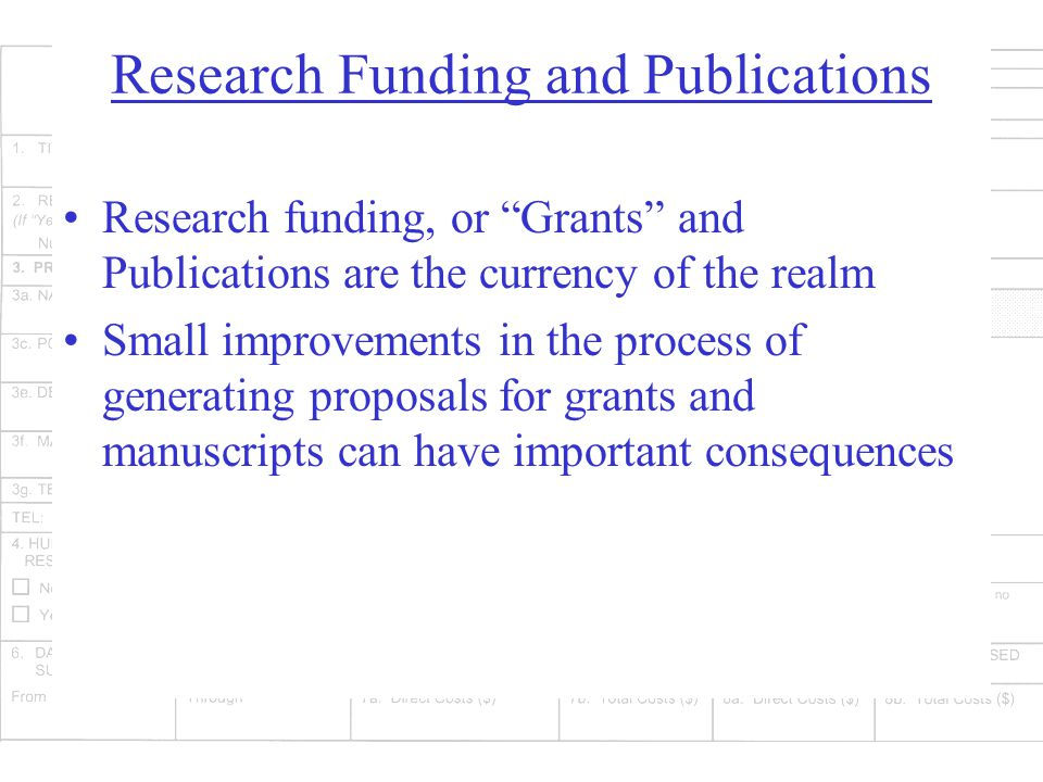 Research Funding and Publications Research funding, or Grants and Publications are the currency of the realm Small improvements in the process of generating proposals for grants and manuscripts can have important consequences