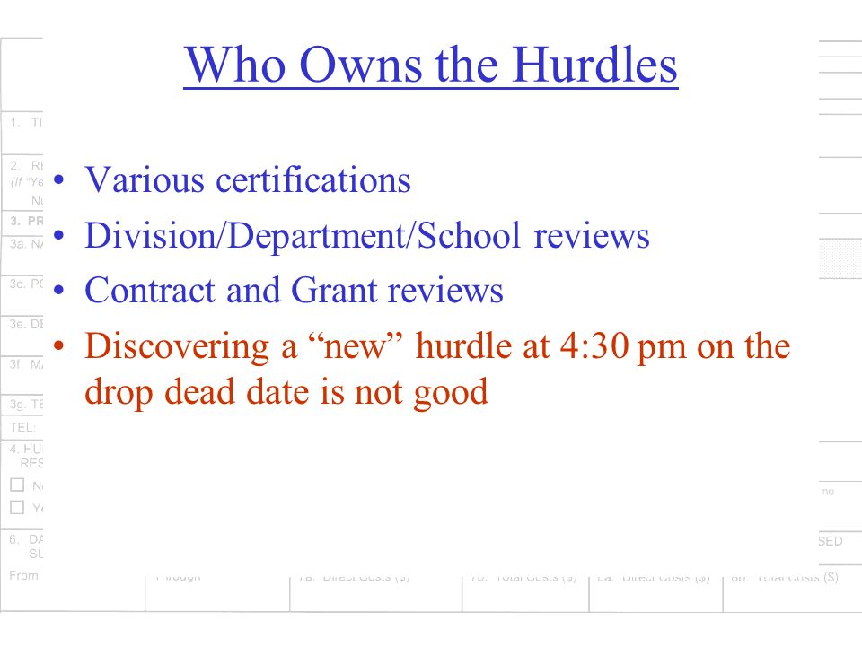 Who Owns the Hurdles Various certifications Division/Department/School reviews Contract and Grant reviews Discovering a new hurdle at 4:30 pm on the drop dead date is not good