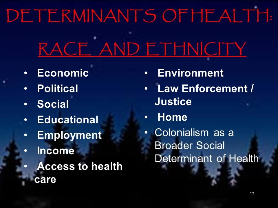 DETERMINANTS OF HEALTH: RACE AND ETHNICITY Economic Political Social Educational Employment Income Access to health care Environment Law Enforcement / Justice Home Colonialism as a Broader Social Determinant of Health 12